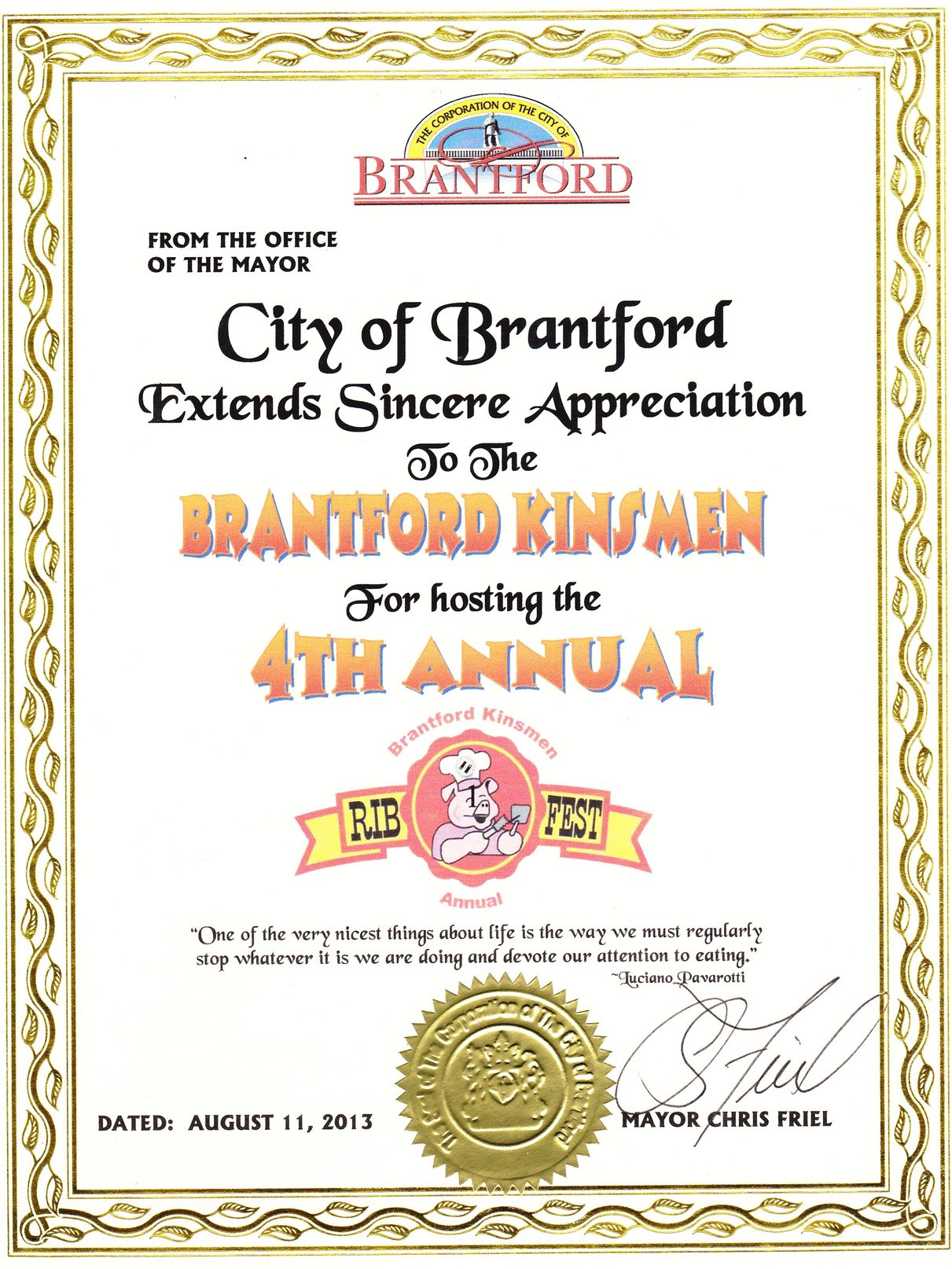 Chris Friel Brantford Ribfest Certificate