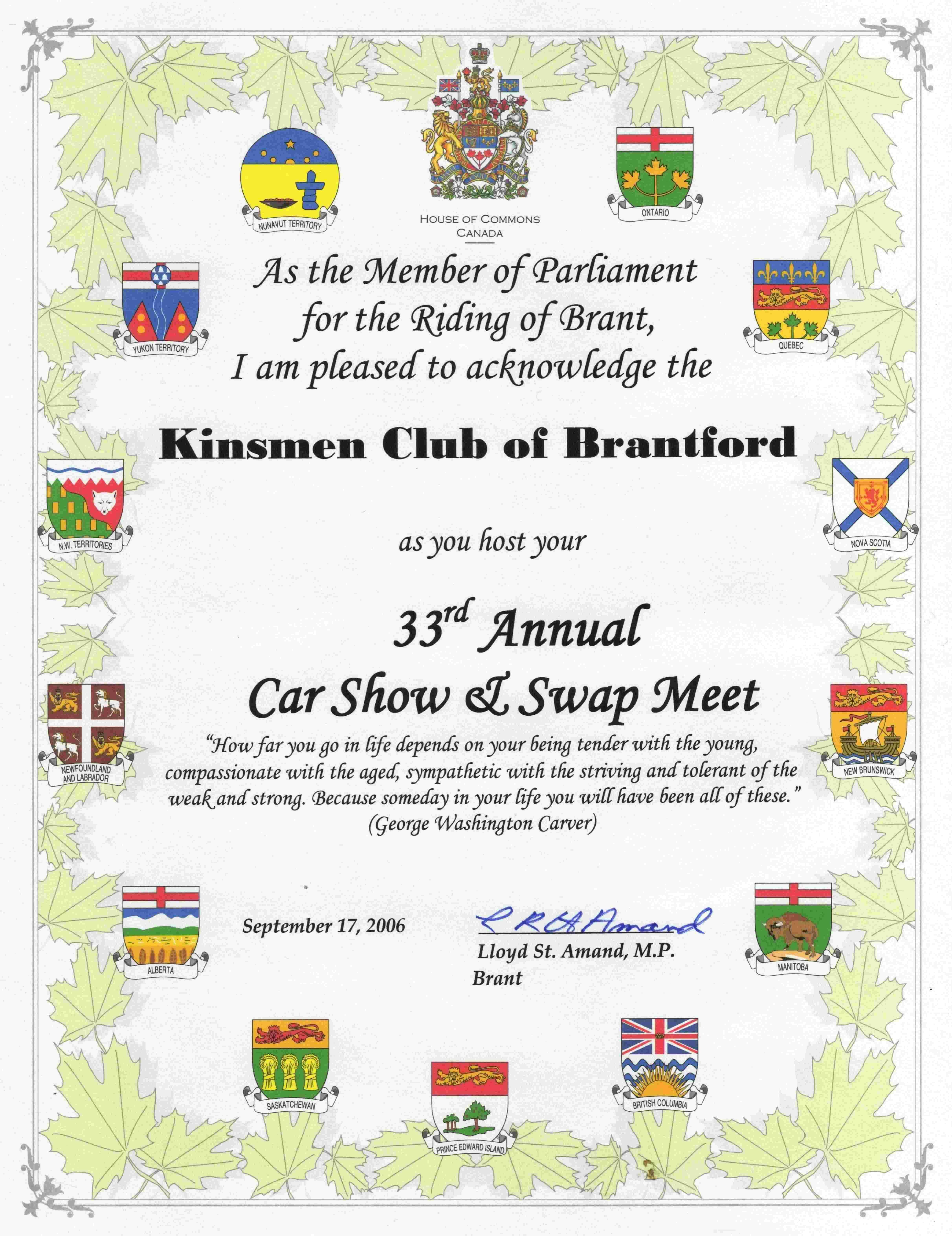 Certificate from Lloyd St. Amand for 33rd Car Show